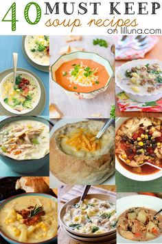 40 Must Keep Soup Recipes. Great roundup on soup Chili Recipes, Crockpot Recipes, Soup Recipes, Great Recipes, Dinner Recipes, Cooking Recipes, Favorite Recipes, Healthy Recipes, Cooking Tips