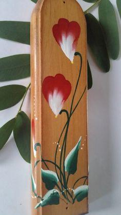 Mezuzah Case, Floral Mezuzah, Wooden Mezuzah case, OOAK Mezuzah, Dark Red…
