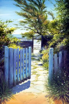 Coastguard Cottage Garden - Cuckmere Haven East Sussex. Acrylic painting on canvas by David Williams. Giclee prints available from wwwsouthdownsgallery.co.uk