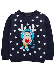 Mini V by Very Boys Reindeer Headphones Jumper A cool way to get into the Christmas spirit, this little boys knitted jumper from Mini V by Very features a music-loving Rudolph. The navy knit is sprinkled with snow-like spots, with the famous red nosed reindeer to the centre listening to his fave festive hits. Styling Ideas He can wear this novelty knit with his best Christmas outfits.