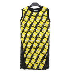 Simpson Print Mesh Back Ripped Sleeveless Dress