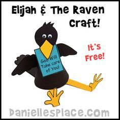 "God always takes care if us and provides! This is a great, fun craft for an ""Elijah and the Ravens"" Sunday School lesson! Super simple!"