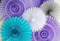 lavender turquoise gray paper rosettes 18 10 by DellaCartaDecor, $19.99 5 fans from Oroville CA