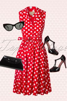 Lindy Bop Matilda Flirty Red Polkadot Bow Dress 102 27 16068 20150708 0009W