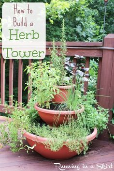 How to Build a Herb Tower Garden- DIY vertical planter using containers for decks or patio.  Perfect project for small spaces.   Running in a Skirt