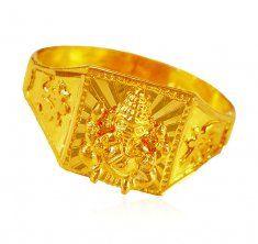22K Gold Ganesh Mens Ring ( Religious Rings )
