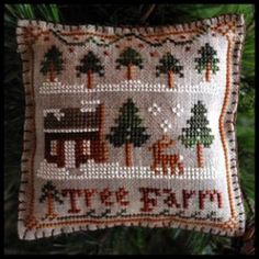 Dog Christmas Ornament Cross Stitch Patterns | Tree Farm 2012 Christmas Ornament #2 - Little House Needleworks