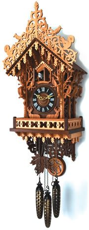 Woodland Cuckoo clock pattern Antique Watches, Antique Clocks, Vintage Clocks, Coo Coo Clock, Tick Tock Clock, Patterned Furniture, Cuckoo Clocks, Clock Shop, Hotel Decor