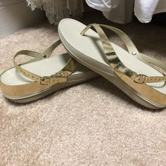 78dab4fac Shop Women s Fitflop Gold White size 8 Sandals at a discounted price at  Poshmark. Description  FitFlop sandals with gold straps worn once.