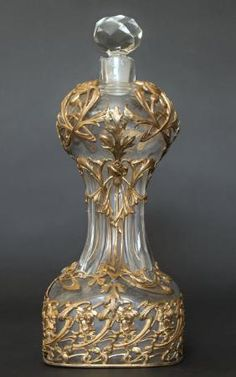 19th C. Large Baccarat Glass & Bronze Perfume Bottle