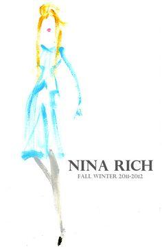 NINA RICH AW 2011-2012 ニナ・リッチの秋冬コレクション。 ペールトーンのワンピースとタイツが可愛い。リップのピュアなピンクもマッチ。