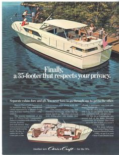 1970 35' Chris Craft Commander with aft cabin ad.
