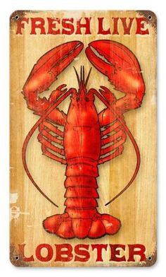 Vintage and Retro Wall Decor - JackandFriends.com - Vintage Lobster Metal Sign, $35.97 (http://www.jackandfriends.com/vintage-lobster-metal-sign/)