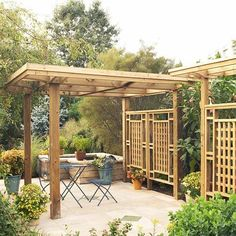 Give It Some Shape-A pergola can be any size and shape you want. Though we tend to see them in squares and rectangles, you can create lots of visual interest by making other configurations, such as an L shape