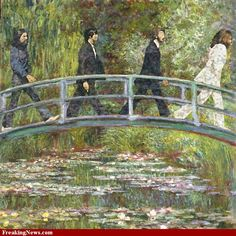 someone had fun with photoshop.  Beatles in a Monet painting.  Awesome