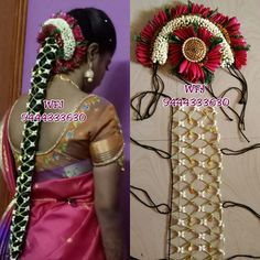 Bridal Hair Buns, Bridal Braids, Bridal Hairdo, South Indian Bride Hairstyle, Indian Bridal Hairstyles, Bride Hairstyles, Tease Hair, Bridal Sarees South Indian, Wedding Flower Design