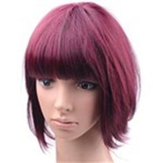 Wine Red Synthetic Natural Bob Wig for Women Girls