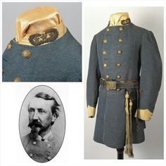CSA General Stevens uniform.   CSA Robert E. Lee's Staff chief of Engineers, General Walther H. Steven's uniform set, his frock coat converted in the field from Colonel to a General, his hob nail boots, his French cavalry sabre that belonged to his father which he carried throughout the war, gold generals sash and much more.