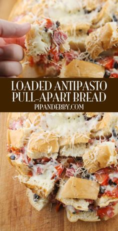 Loaded Antipasto Pull-Apart Bread - the delicious marriage of pull-apart bread and antipasto salad! #partyfood #superbowl