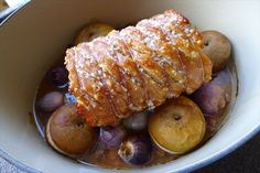 Rolled Pork Shoulder with Apples, Onions and Perfect Pork Crackling (a welcome to the UK feast)