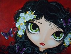 Make Art & Live Happy: Painting Beautiful Girls And Butterflies workshop Happy Paintings, Fantasy Illustration, Fairy Art, Whimsical Art, Doll Face, Mixed Media Art, Altered Art, Cute Art, Art Girl