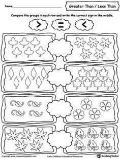 **FREE** Using Less Than/Greater Than Numbers Signs by Comparing Leaves Worksheet. Learning the Less than, greater than and equal signs by counting and comparing the number of leaves in each group.