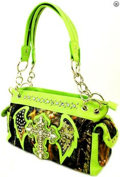 This purse embodies three things I love: lime green, camo, and bling!