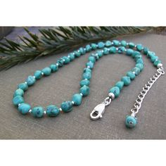 Genuine Turquoise Necklace, Gemstone Nugget Beads, Sterling Silver Beads, Modern Classic Southwest Style, Trendy Jewelry, Gift Idea ($82) found on Polyvore featuring women's fashion, jewelry, necklaces, gemstone jewelry, sterling silver bead necklace, blue turquoise necklace, beaded necklaces and sterling silver gemstone jewelry