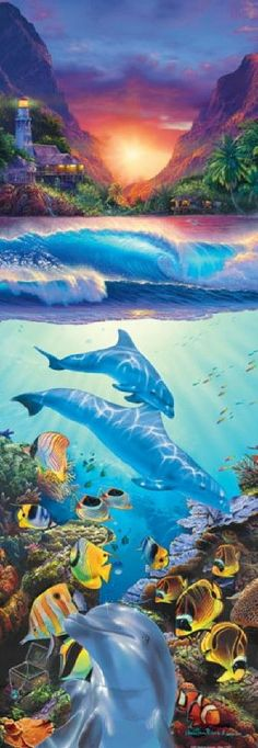 Christian Riese Lassen Mystical Journey II Dolphins Jigsaw Puzzle - 500 pc