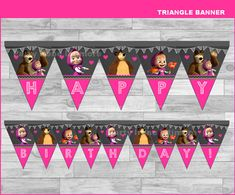 Masha and The Bear triangle Banner Instant por partyirenelatimore