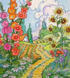 """The Path Straight Through Summer Storybook Cottage Series"" - Original Fine Art for Sale - � Alida Akers"