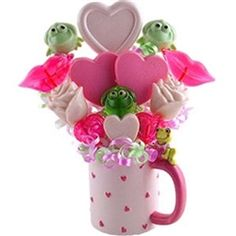 Valentine's Day Candy Bouquet Hearts and Frogs in a Mug