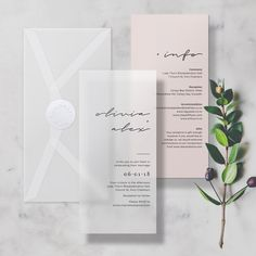 Nude + Vellum Minimal Translucent Wedding Invitation/Invite, includes Info Card, Envelope & Sticker #vellum #wedding #translucent #transparent #clear #seethrough #savethedate #savethedates #invitation #invite #menu #modern #contemporary #savethedates #minimal #nude #blush #rose