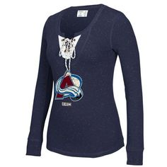 buy popular 1311e 01dac Women s Colorado Avalanche CCM Navy Lace-Up Henley T-Shirt Philadelphia  Flyers, Long