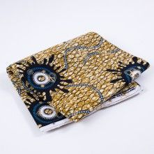 Dark+Navy+and+Gold+Waxed+Cotton+African+Print+with+Gold+Metallic+Foil