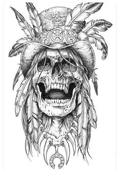 50 Stunning Eye Catching Tattoo Sketches Design Ideas Wagepon Ideas - If you re going to obtain a tattoo it s important to understand just precisely what you want F - Tatto Skull, Indian Skull Tattoos, Skull Tattoo Design, Tatoo Art, Skull Art, Color Tattoo, Body Art Tattoos, New Tattoos, Sleeve Tattoos