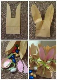 These look easy and a cute way to take treats to school!  Stick Stitch Cut:- Bunny treat bags
