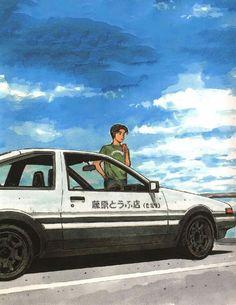 Initial D: Extra Stage Tabidachi No Green Arte Drake, Initial D Car, Animes Wallpapers, Car Wallpapers, Jdm Wallpaper, Street Racing Cars, Japan Cars, Car Drawings, Aesthetic Japan