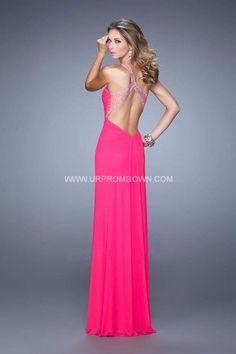 Neon Pink La Femme Beaded One Strap Open Back Prom Dress 21384