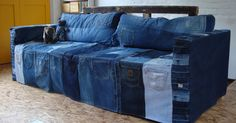 Blogger said: I recently made this denim cover for my other half's sofa-bed that sits in his new studio.
