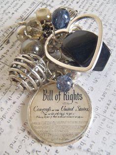 Bill Of Rights Patriotism Kraft Brown Silver and by AJewelryJar, $12.50