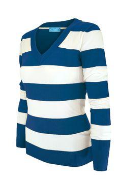 Cielo Women's V-neck Wide Stripe Pullover Teal SW235 - 6 Pcs