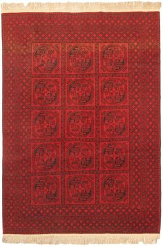 Hand-knotted Khal Mohammadi Red Wool Rug