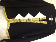 Sweatshirt Cardigan Black, White Triangles, Gold Polka Trim Black & Silver Sparkle Buttons XL - pinned by pin4etsy.com