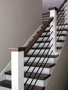 Staircase Railing Design, Interior Stair Railing, Modern Stair Railing, Modern Stairs, Staircase Ideas, Banister Ideas, Indoor Railing, Stair Design, Stair Case Railing Ideas