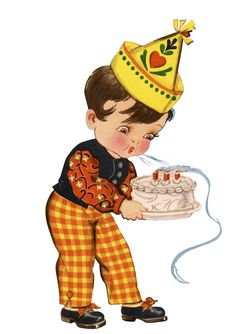 Vintage Cute Birthday Boy Blowing Candles Graphic! Written by Karen GraphicsFairy--this image an adorable Birthday boy holds a cake as he blows out three red candles. He is dressed in a black vest over a dark orange flowers print shirt. His yellow and orange check trousers have a button at the ankle. He wears black shoes with orange bows and a festive yellow Birthday hat with a stenciled heart design.