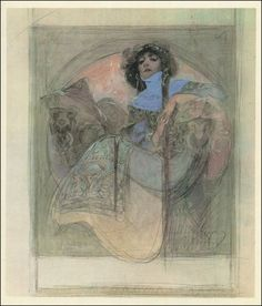 Woman Sitting in an Armchair (sketch for a poster) by Alphonse Mucha