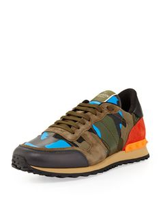 Men\'s Rockrunner Camo Sneaker, Blue/Orange by Valentino at Bergdorf Goodman.