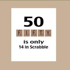 50th Birthday Card Milestone Birthday Scrabble by DaizyBlueDesigns, $4.00