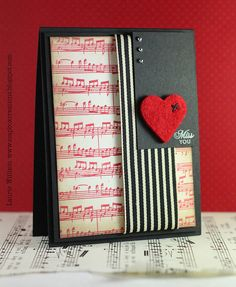 Beautiful Music Sheet Paper Heart Card...